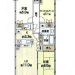 2SLDK(S=サービスルーム5.1帖)(間取)