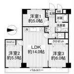 3LDK全室フローリング洋室(間取)
