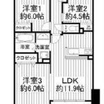 全室洋室3LDK(間取)