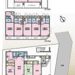 3階建てで、1階は3LDK、2階は1K5室、3階はルーフバルコニー付の1K2室です。(間取)
